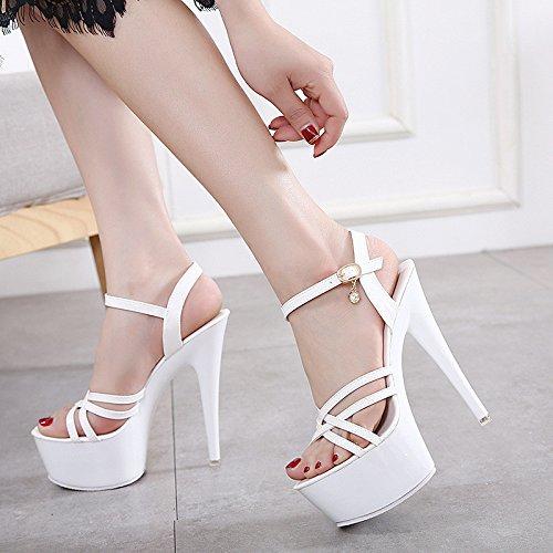 XiaoGao con y de 15 super finos tacones Blanco centímetros sandalias tacones nxrXnPgw0