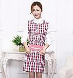 Goodscene Creative Apron Women Plaid Apron Zip Pocket Apron for Cooking Baking (Pink)