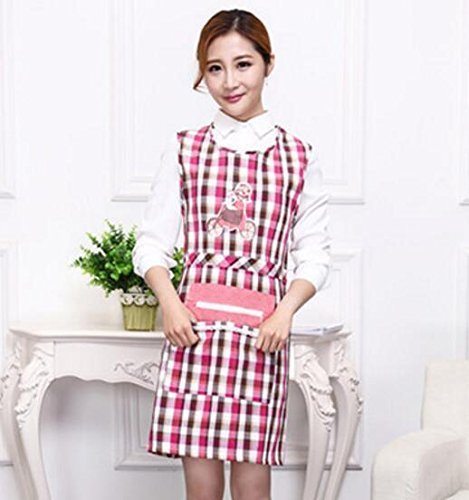 Goodscene Creative Apron Women Plaid Apron Zip Pocket Apron for Cooking Baking (Pink) by Goodscene