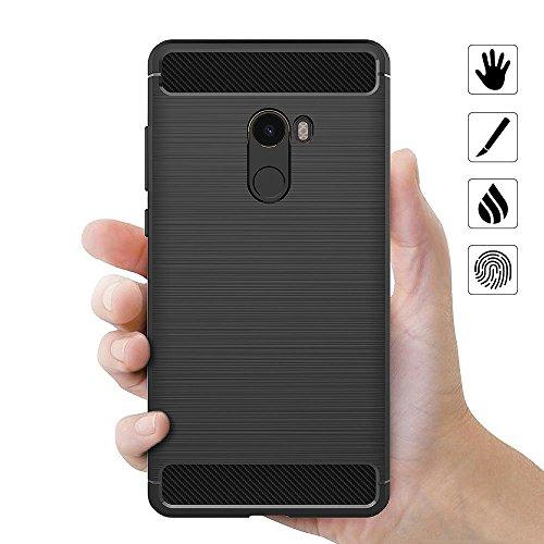 Funda Xiaomi Mi Mix 2, iVoler Negro Súper TPU Silicona Carcasa Fundas Protectora con Shock- Absorción y Diseño de Fibra de Carbon Para Xiaomi Mi Mix 2