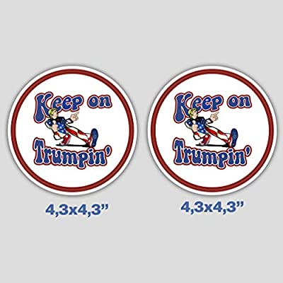 Set of 2 Keep On Trumpin Sticker Decal Vinyl for Car Bumper Truck Window Laptop: Kitchen & Dining