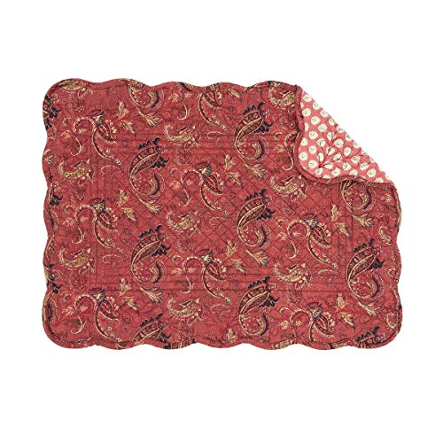 C&F Home Ellison Rust Red Paisley Place Mats Rectangular Cotton Quilted Reversible Washable Placemat Set of 6 Rectangular Placemat Set of 6 Ellison