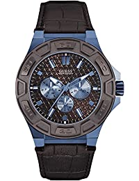 Guess Men's Force 45mm Brown Leather Band Steel Case Quartz Analog Watch W0674G5