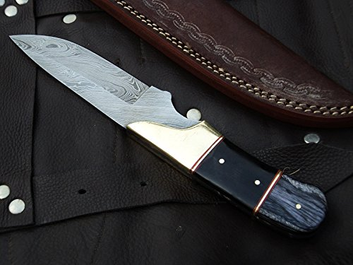 DKC-714 BLACK WIDOW Damascus Steel Hunting Handmade Knife Fixed Blade 8.5 oz 9'' Long 4'' Blade DKC KNIVES by DKC Knives