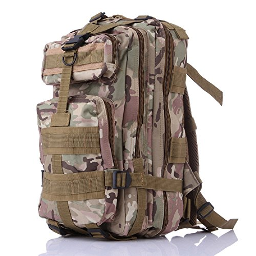 3P Tactical Military Backpack, Feskin 25L Superior Waterproof Wearable Durable Double Shoulder Bag for Kids Camping, Climbing, Hiking, Shooting Outdoor Sports - CP Camouflage