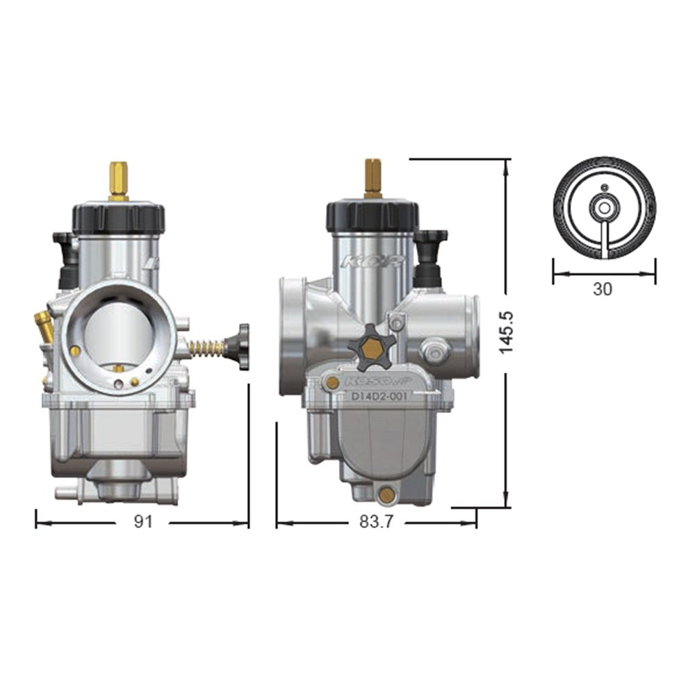 Koso DA28C000 Carburetor Assembly Kcr,28Mm