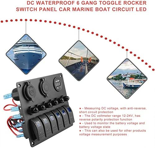 CloverLucky DC Flat Waterproof 6 Gang Toggle Rocker Switch Panel Car Marine Boat Circuit LED Breaker Voltmeter Aluminum Panel