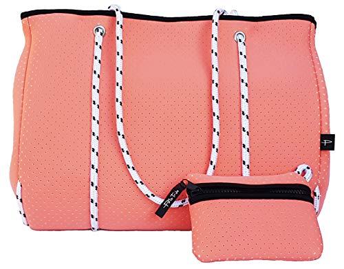Light Designer Tote Bag for Women, Neoprene Shoulder Carry Hobo Bag, Large & Durable in Summer Coral ()