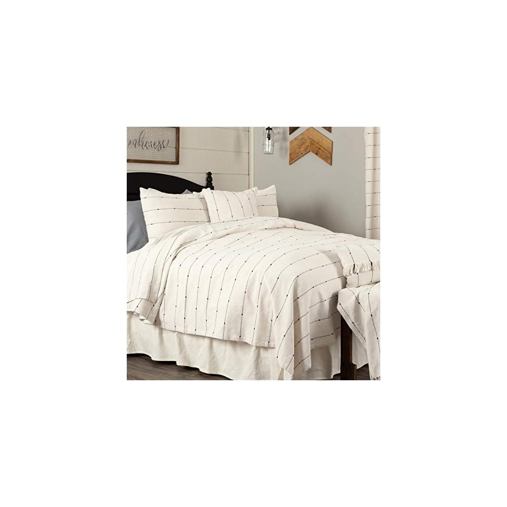 "Piper Classics Farmcloth Stripe King Coverlet Bedspread, 97"" L x 110"" W, Urban Rustic Farmhouse Bedding, Natural Cream Woven w/Black Stripes Blanket"
