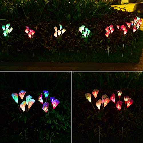 Doingart Outdoor Solar Garden Light, 2 Pack Calla Lily LED Solar Flower Light with Multi-Color Changing LED Solar Decorative Lights, for Garden, Patio, Backyard (Purple and White)