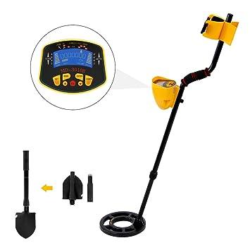 Enjoygoeu Detector de Metales de Tesoros 3 en 1 Alta Sensibilidad con Pantalla LCD Indicador Bobina de Búsqueda con Profundidad Sensible: Amazon.es: Jardín