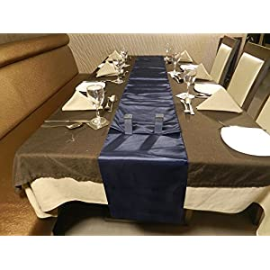 ELINA'S PACK OF10 Wedding 12 x 108 inch Satin Table Runner Wedding Banquet Decoration- (NAVY-BLUE)