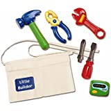 Kidoozie Little Builder Tool Belt - Includes Belt with Pockets, Pretend Hammer, Pliers, Wrench, Screwdriver With 2 Bits, And Electronic Beeper - Ages 2 And Up