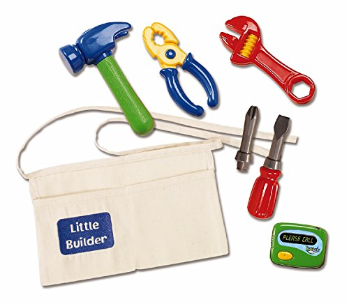 Handy Manny Tool Belt (Kidoozie Little Builder Tool Belt - Includes Belt with Pockets, Pretend Hammer, Pliers, Wrench, Screwdriver With 2 Bits, And Electronic Beeper - Ages 2 And)