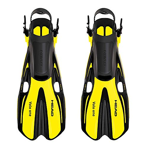 HEAD Mares Volo One Adjustable Snorkeling Fins, Yellow, Small