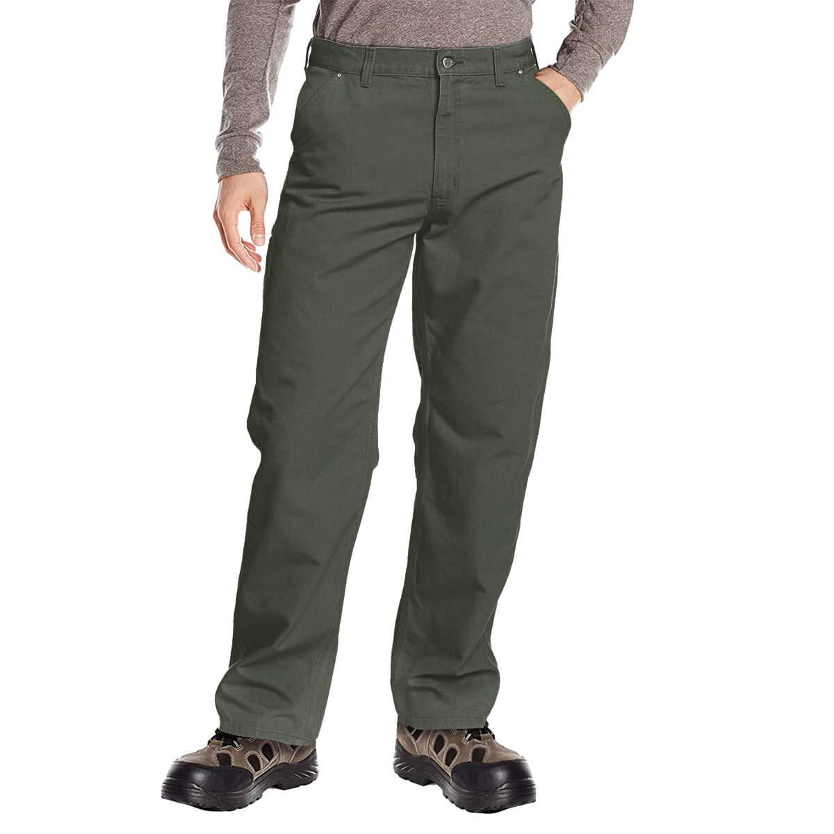 DuraDrive 38W x 32L Dark Grey Mens Loose Fit Garment Washed Duck Canvas Work Dungaree Carpenter Pants