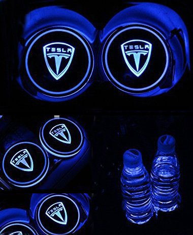 ZhengRong Car Logo LED Cup Pad led Cup Coaster USB Charging Mat Luminescent Cup Pad LED Mat Interior Atmosphere Lamp Decoration Light for Tesla (2 Piece)