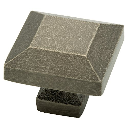 Liberty 65237WI Iron Craft 1-1/4 in. Tumbled Pewter Square Cabinet Knob, Tumbled Pewter