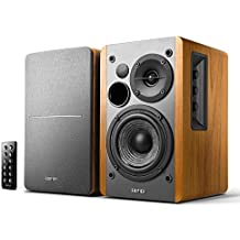 Edifier R1280DB Powered Bluetooth Bookshelf Speakers - Optical Input - Wireless Studio Monitors - 4 Inch Near Field Speaker - 42w RMS - Wood Grain (Wood)