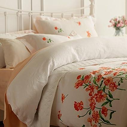 Cuatro piezas de ropa de cama de lino pastoral en francés,Orange,1,