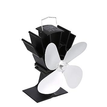 Heaviesk Ventilador Chimenea de Potencia térmica Ventilador térmico Estufa de leña alimentada por Calor Ventilador para