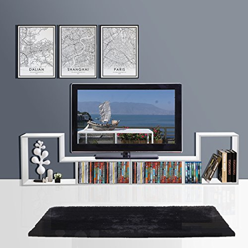 3-in-1 Versatile TV Stand Bookcase Display Cabinet by DEVAISE (New Style-White ( 0.6