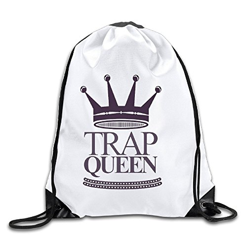 Fetty Wap Trap Queen White Drawstring Backpack Sport Bag For Men & Women