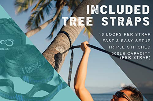 Double Camping Hammock- Best Lightweight & Portable Two Person Hammock Set –Aluminum Wiregate Carabiners, 2- 16 Loop Tree Straps & Compression Strap- Holds 500 LBS -Ideal for Travel Black Middle