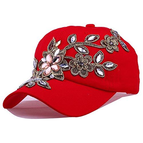 (CRUOXIBB Women's Crystal Flower Bling Rhinestone Snapback Cap Baseball Hat(01 Red))