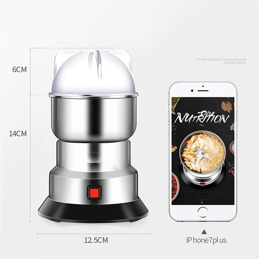Máquina mezcladora eléctrica para especias Grano de café 550 W Grinder pequeño Acero inoxidable portátil Molinillos de alimentos con 150 g de gran ...