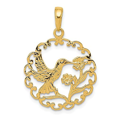 - 14k Yellow Gold Hummingbird In Round Frame Pendant Charm Necklace Bird Fine Jewelry Gifts For Women For Her