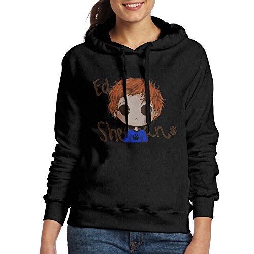 Bekey Women's Ed Sheeran Cartoon Hoodie Sweatshirt L Black