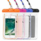 Waterproof Case, 4 Pack F-color Universal Clear Waterproof Pouch Dry Case Compatible with iPhone X 8 7 7 Plus Home Button for iPhone, Google Pixel, Samsung, HTC, LG, Floating, Blue Black Orange Pink