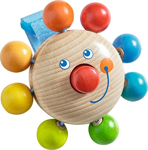 HABA Clown Buggy Play Figure - Wooden Rattle With Squeaky Nose Attaches to Car Seats & Strollers (Made in (Wooden Buggy)