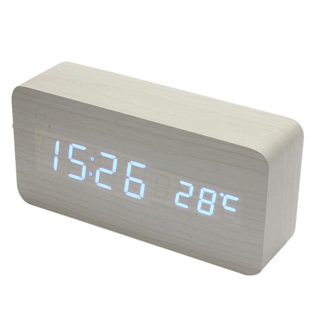 FZZ698 Sounds Control Alarm Clock, Decoration Wall Clock, Fashion Home Decoration Digital Wall Home Modern Design Temperature Display Electronic Desktop (B)