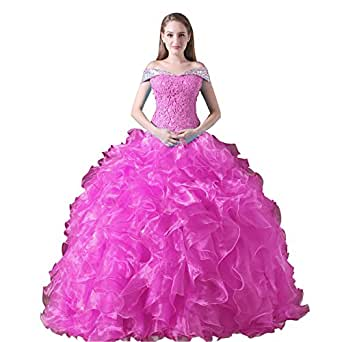 Women's Ball Gown Ruffles Off Shoulder Quinceanera Dress Prom Gown Hot Pink US10