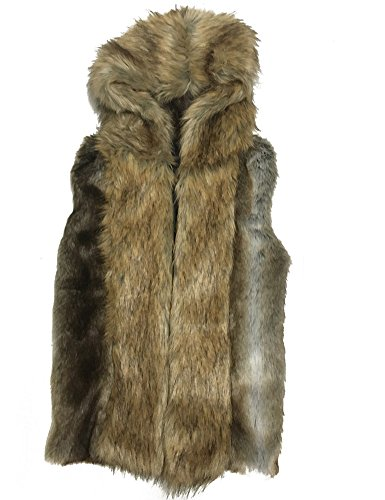 - Moonwalk Men`s Faux Fur Hooded Sleeveless Vest Medium Dark