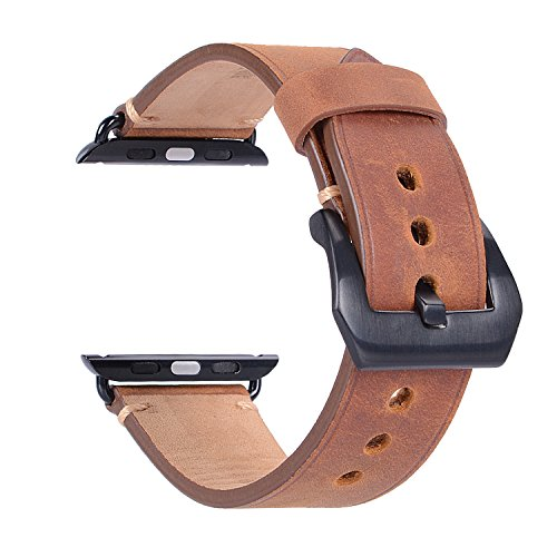 For 42mm Apple Watch Band, Genuine Leather iWatch Strap with Black Metal Clasp Buckle for Apple Watch Series 3 Series 2 Series 1 Sport Edition (42mm Dark Brown) by AMMZO