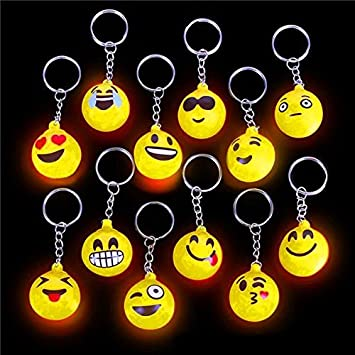 German Trendseller® - 12 x LED emoji llaveros┃ emoticon con ...
