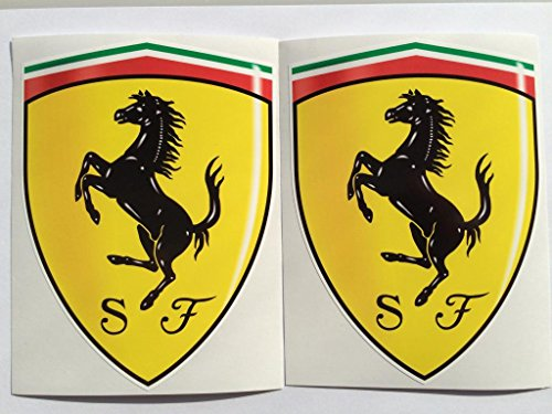 2 Ferrari Shield Hood Badge Die Cut Decals by SBD - Logo For Ferrari