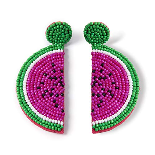 Beaded Dangle Earrings Watermelon - Oversized Handmade Summer Fruit Earrings with Colorful Drop for Women, Girls, Novelty Gifts (Purple)