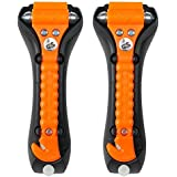 LifeHammer Glow In The Dark Safety Hammer Classic Auto Escape Tool, Orange (Pack of 2)