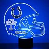 Mirror Magic Store Indianapolis Colts Football Helmet LED Night Light with Free Personalization - Night Lamp - Table Lamp - Featuring Licensed Decal