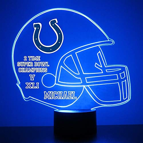 - Mirror Magic Store Indianapolis Colts Football Helmet LED Night Light with Free Personalization - Night Lamp - Table Lamp - Featuring Licensed Decal