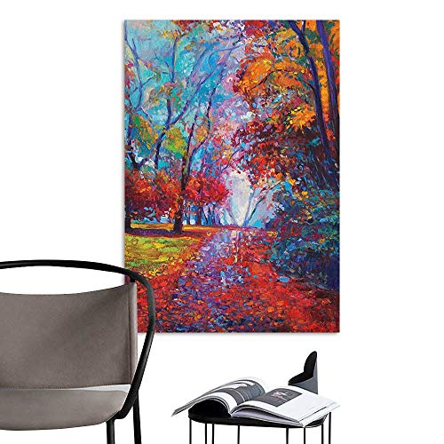 Wall Mural Wallpaper Stickers Country Colorful Fairy Paint of Park in Fall Arts View of The Earth and Trees in The Nature Art Multi Creative Self-Adhesive W8 x H10