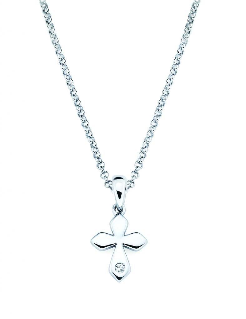 Little Diva Diamonds Cross Diamond Accent Pendant Necklace in 925 Sterling Silver, 16''