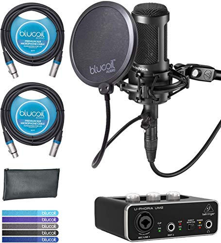 Multi Pattern Usb - Audio-Technica AT2050 Multi Pattern Microphone Bundle with Behringer U-PHORIA UM2 USB Audio Interface with 48V Phantom Power, Blucoil 2-Pack of 10-FT Balanced XLR Cables, 5x Cable Ties, and Pop Filter