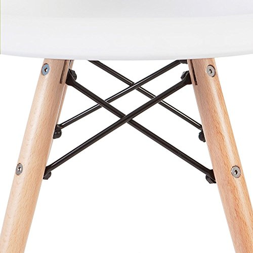 2xhome - White - Kids Size Eames Armchair Eames Chair White Seat Natural Wood Wooden Legs Eiffel Childrens Room Chairs Molded Plastic Seat Dowel Leg by 2xhome (Image #5)