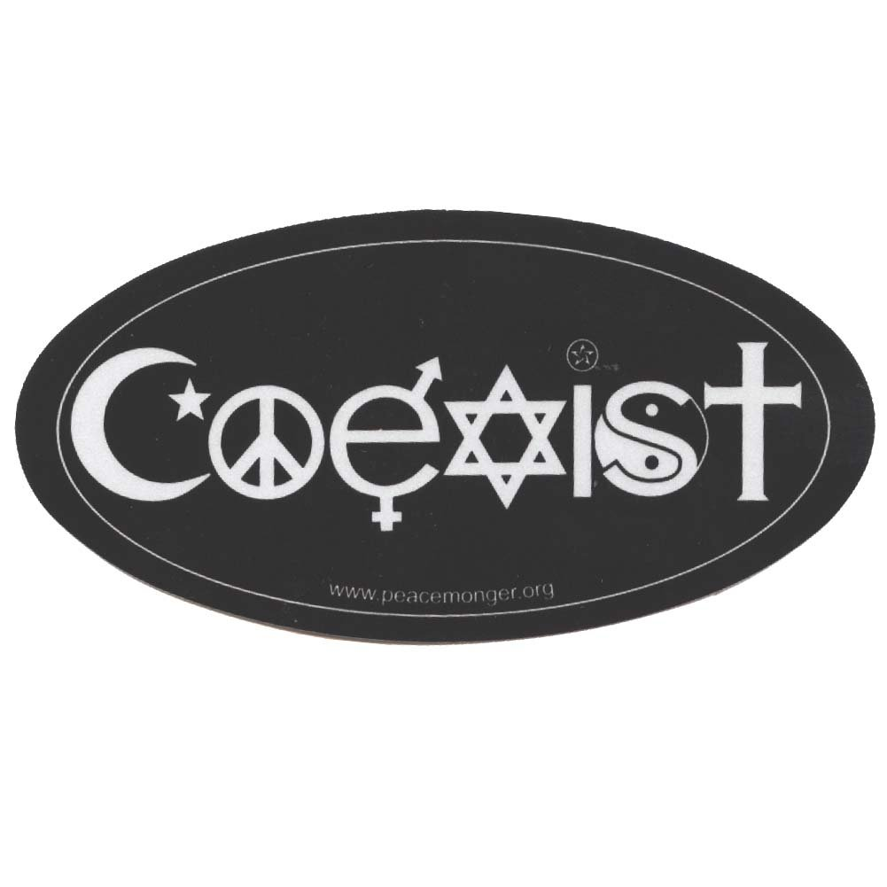 Amazon Coexist Symbols Original Reflective Oval Mini Bumper
