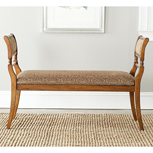 Safavieh American Home Collection Lourdes Walnut Finished European Style Settee Bench by Safavieh